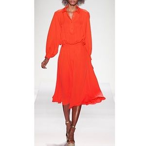 Tory Burch Silk Flowy Long Shirtdress Midi Orange
